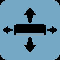 3D вентилатор - Автоматично контролираните хоризонтални и вертикални жалузи осигуряват оптимална циркулация на въздуха и разпределение на температурата в помещението.