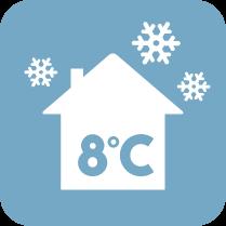 Функция 8°C - В режим на отопление климатикът може да поддържа температурата на помещенията до 8°C, с цел предотвратяване на прекомерно охлаждане при продължително отсъствие на обитателите.