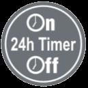 24-ЧАСОВ ПРОГРАМИРУЕМ ТАЙМЕР - Чрез комбинацията на стартиращ и спиращ таймер, можете да отбележите две операции за таймера на ден. Веднъж настроени, таймерите ще пускат и спират системата в посочения час на деня.