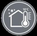 ОТОПЛЕНИЕ 10°C - През студените сезони, температурата на стаите може да бъде поддържана на комфортно ниво, дори когато отсъствате. Климатикът поддържа температура от 10°C.